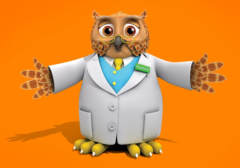 Rowlands Pharmacy cartoon owl