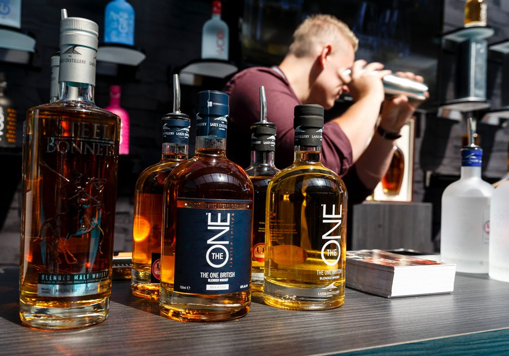 The Lakes Distillery blended whiskey range displayed on exhibition stand at IMBIBE Olympia London